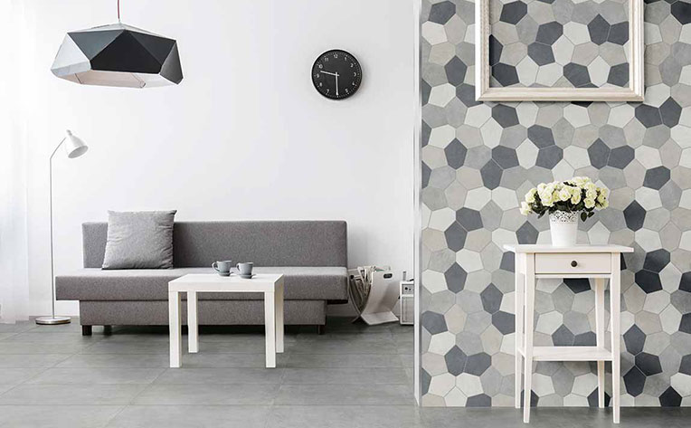 Modern room design with trendy tile looking wallpaper in gray tones